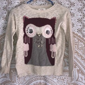 JUSTICE (Size 8) adorable owl sweater (very soft)